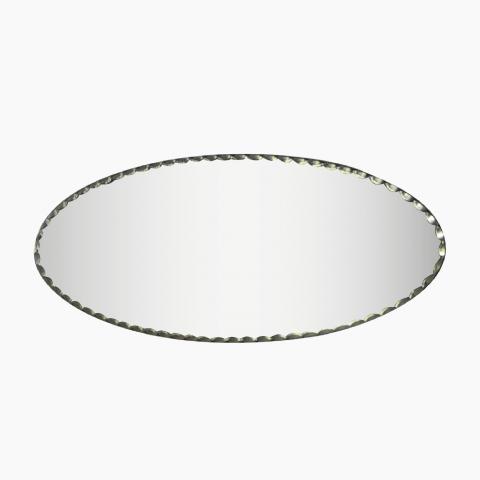 Miroir Biseaute Oval perle et olive
